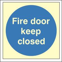 Fire Signs, Photoluminescent Fire Door Signs - Photoluminescent Fire Door Keep Closed Sign