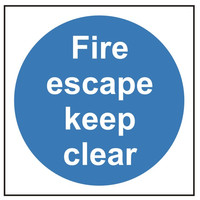 Fire Signs, Fire Door Signs - Fire Escape Keep Clear Sign