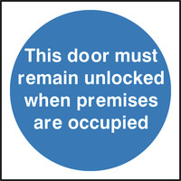 Fire Signs, Fire Door Signs - This Door Must Remain Unlocked Sign