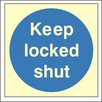 Fire Signs, Photoluminescent Fire Door Signs - Photoluminescent Keep Locked Shut Sign
