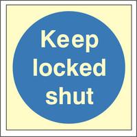Fire Signs, Photoluminescent Fire Door Signs - Photoluminescent Keep Locked Shut Sign