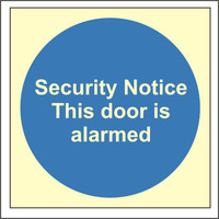 Fire Signs, Photoluminescent Fire Door Signs - Photoluminescent Security Notice This Door Is Alarmed Sign