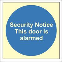 Fire Signs, Photoluminescent Fire Door Signs - Photoluminescent Security Notice This Door Is Alarmed Sign