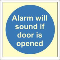 Fire Signs, Photoluminescent Fire Door Signs - Photoluminescent Alarm Will Sound If Door Is Opened Sign