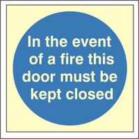 Fire Signs, Photoluminescent Fire Door Signs - Photoluminescent In The Event Of A Fire Sign