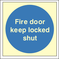 Fire Signs, Photoluminescent Fire Door Signs - Photoluminescent Fire Door Keep Locked Shut Sign