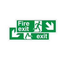 Fire Signs, Emergency Exit Signs - Double Sided Fire Exit Sign Arrow Down Left/Right