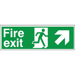 Fire Exit Arrow Right/Up Sign