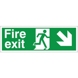 Fire Exit Arrow Right/Down Sign