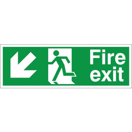Fire Exit Arrow Down/Left Sign