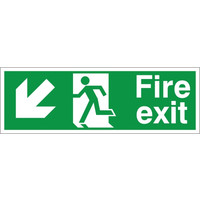Fire Signs, Emergency Exit Signs - Fire Exit Arrow Down/Left Sign