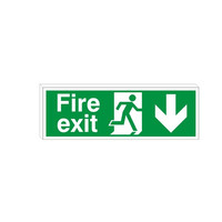 Fire Signs, Emergency Exit Signs - Double Sided Fire Exit Sign Arrow Down
