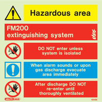 Fire Signs, Photoluminescent Extinguishing System Signs - FM200 Photoluminescent Extinguishing System Sign