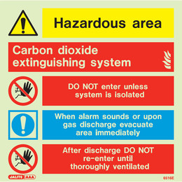 Carbon Dioxide Photoluminescent Extinguishing System Sign