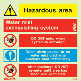 Water Mist Photoluminescent Extinguishing System Sign