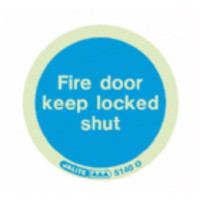 Fire Signs, Photoluminescent Fire Door Signs - Jalite Photoluminescent 'Fire Door Keep Shut' Sign, 80mm Disc, Pack Of 10