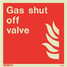 Jalite Photoluminescent 'Gas Shut Off Valve' Sign