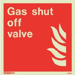 Jalite Photoluminescent 'Gas Shut Off Valve' Sign