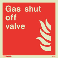 Fire Signs, Photoluminescent Fire Equipment Signs - Jalite Photoluminescent 'Gas Shut Off Valve' Sign