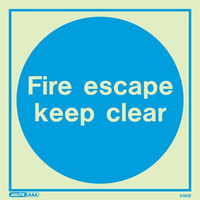 Fire Signs, Photoluminescent Fire Door Signs - Jalite Photoluminescent 'Fire Escape Keep Clear' Sign