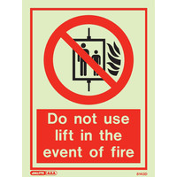 Fire Signs, Photoluminescent Fire Action Signs - Jalite Photoluminescent 'Do Not Use Lift In The Event Of Fire' Sign