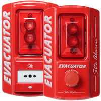 Fire Alarms, Standalone Fire Alarms, Self Contained Alarms - Evacuator Site Master Alarm With Break Glass or Push Button Activation