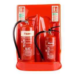 Double Universal Extinguisher Stand in Red or Grey