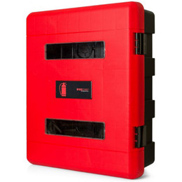 Firechief Double Fire Extinguisher Cabinet With Hand-Operated Latch