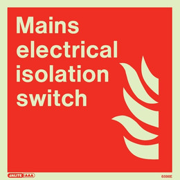 Jalite Photoluminescent 'Mains Electrical Isolation Switch' Sign