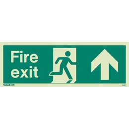 Jalite Up Arrow Fire Exit Sign - Photoluminescent 120 X 340 mm