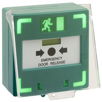 Security Equipment, Door Access Control - Triple Pole Green Door Release Manual Call Point With LED & Sounder