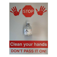 First Aid & Safety Equipment, First Aid Accessories - Stop Clean Your Hands Sign Board With Alcohol Hand Sanitiser