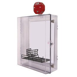 Extra Large AED Protective Cabinet with Alarm, Backplate, Wire Shelf & Thumb Lock
