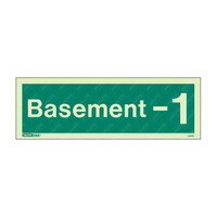 Fire Signs, Stairway & Floor Identification Signs - Basement -1 Photoluminescent  Floor Identification Sign