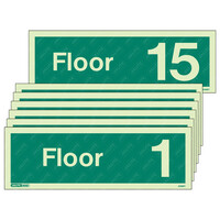 Fire Signs, Stairway & Floor Identification Signs - Floor 1-15 Photoluminescent Floor Identification Sign