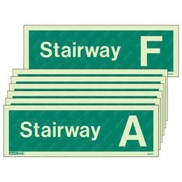 Stairway A-F Photoluminescent Stairway Identification Sign