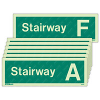 Fire Signs, Stairway & Floor Identification Signs - Stairway A-F Photoluminescent Stairway Identification Sign