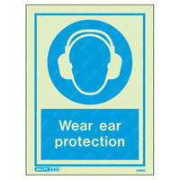 Fire Signs, Personal Protection Equipment Signs - Wear Ear Protection Wording & Symbol Photoluminescent PPE Sign