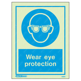 Wear Eye Protection Wording & Symbol Photoluminescent PPE Sign