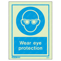 Fire Signs, Personal Protection Equipment Signs - Wear Eye Protection Wording & Symbol Photoluminescent PPE Sign