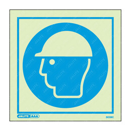 Wear Head Protection Symbol Only Photoluminescent PPE Sign