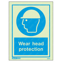 Fire Signs, Personal Protection Equipment Signs - Wear Head Protection Wording & Symbol Photoluminescent PPE Sign