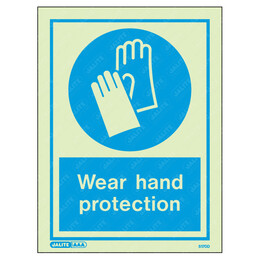 Wear Hand Protection Wording & Symbol Photoluminescent PPE Sign