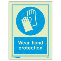 Fire Signs, Personal Protection Equipment Signs - Wear Hand Protection Wording & Symbol Photoluminescent PPE Sign