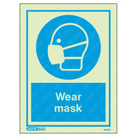 Fire Signs, Personal Protection Equipment Signs - Wear Mask Wording & Symbol Photoluminescent PPE Sign