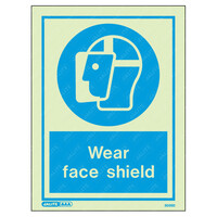 Fire Signs, Personal Protection Equipment Signs - Wear Face Shield Wording & Symbol Photoluminescent PPE Sign