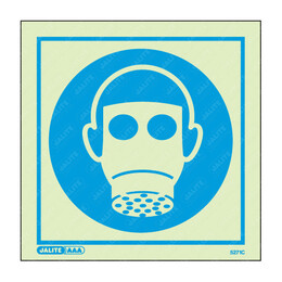 Wear Respirator Symbol Only Photoluminescent PPE Sign
