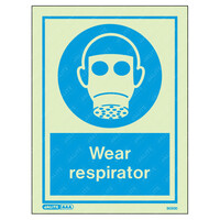 Fire Signs, Personal Protection Equipment Signs - Wear Respirator Wording & Symbol Photoluminescent PPE Sign