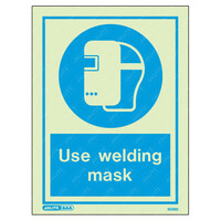 Fire Signs, Personal Protection Equipment Signs - Use Welding Mask Wording & Symbol Photoluminescent PPE Sign