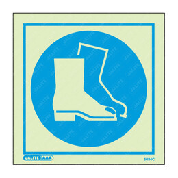 Wear Foot Protection Symbol Only Photoluminescent PPE Sign